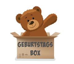 Teddy bear in Geburtstagsbox